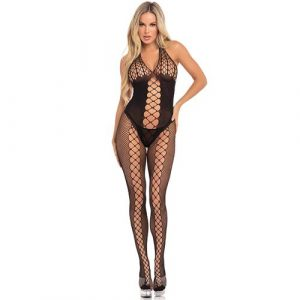Halter bodystocking visnet - Intiemtoys.nl